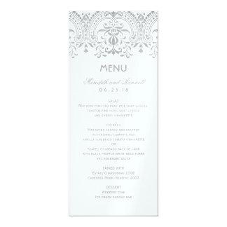 Hochzeits-Abendessen-Menü kardiert | silbernen 10,2 X 23,5 Cm Einladungskarte