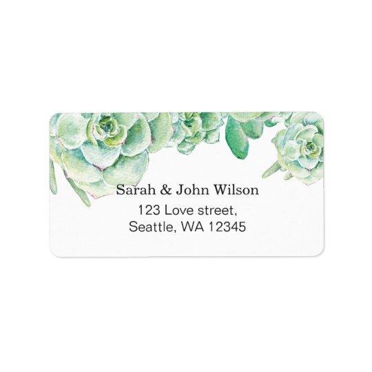 Hochzeits-Adressen-Etikett des Aquarells saftiges Adressaufkleber