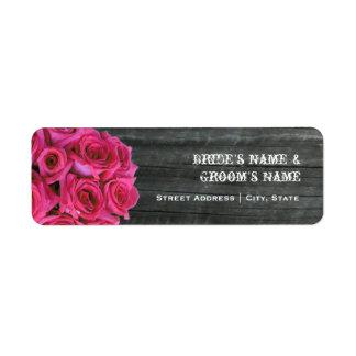 Hochzeits-Adressen-Etikett - heißes Rosa Rosen u.  Kleiner Adressaufkleber