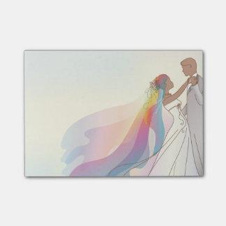 Hochzeits-Anmerkungen mit Braut u. Bräutigam 4 - Post-it Klebezettel