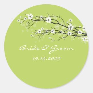 Hochzeits-Aufkleberblütenniederlassungen, Runder Aufkleber