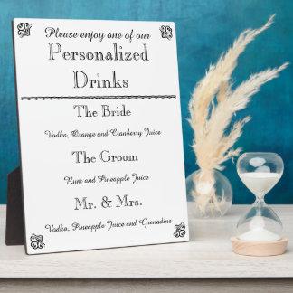 Hochzeits-Bar-Menü-Plakette Platten