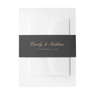 Hochzeits-Bauch-Band-elegante Goldholzkohle Einladungsbanderole