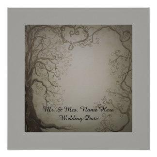 Hochzeits-Baum-Gast-Buchdruck Perfektes Poster