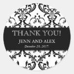 Hochzeits-Bevorzugungs-Damast danken Ihnen Aufkleb