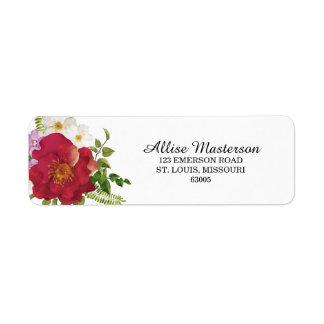 Hochzeits-Blumen-Adressen-Etikett