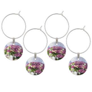 Hochzeits-Blumenstrauß-Hochzeit - Eltern Weinglas Anhänger