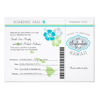 Hochzeits-Boarding-Durchlauf nach Hawaii 11,4 X 15,9 Cm Einladungskarte