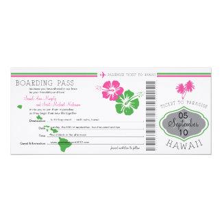 Hochzeits-Boarding-Durchlauf nach Hawaii Ankündigungskarten