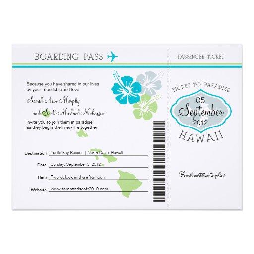 Hochzeits-Boarding-Durchlauf nach Hawaii Einladungen