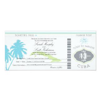 Hochzeits-Boarding-Durchlauf nach Kuba 10,2 X 23,5 Cm Einladungskarte