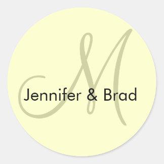 Hochzeits-Braut-Bräutigam-Elfenbein-Creme-Monogram Runder Aufkleber