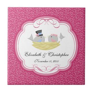 Hochzeits-Braut-Bräutigam-Vogel-Andenken deckt Ros Fliesen