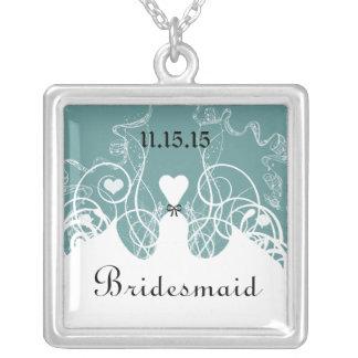 Hochzeits-Brautjungfern-Andenken danken Ihnen Halskette Mit Quadratischem Anhänger