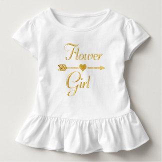 Hochzeits-Brautparty-Glitzer-GoldBlumen-Mädchen Kleinkind T-shirt