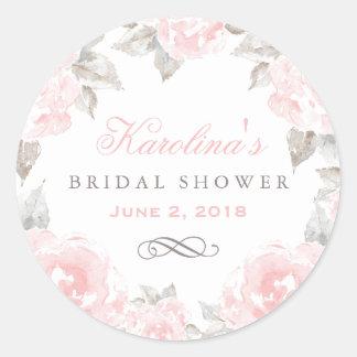 Hochzeits-Brautparty| rosa Watercolor-Rosen Runder Aufkleber
