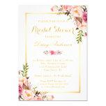Hochzeits-Brautpartychic-goldener mit Blumenrahmen 12,7 X 17,8 Cm Einladungskarte