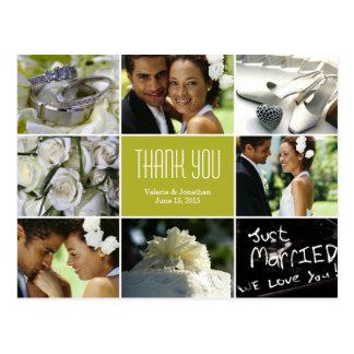 Hochzeits-Collage danken Ihnen die Chartreuse Post Postkarten