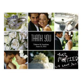 Hochzeits-Collage danken Ihnen Postkarte
