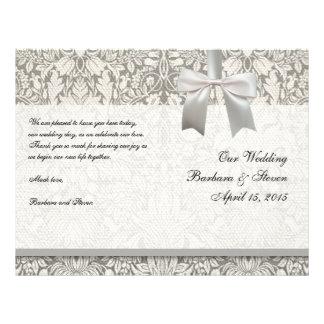 Hochzeits-Damast-Vintage weiße Hochzeits-alte 21,6 X 27,9 Cm Flyer