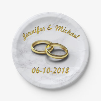 Hochzeits-Datums-Braut u. Bräutigam-kundengerechte Pappteller