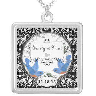Hochzeits-Datums-glückliche Halskette Mit Quadratischem Anhänger