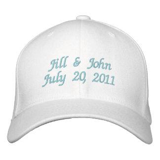 Hochzeits-Datums-Paar nennt Mitteilung rosa Hut Bestickte Baseballmütze