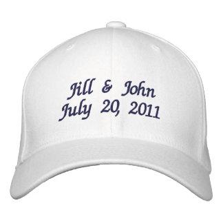 Hochzeits-Datums-Paar nennt Mitteilungs-Marine-Hut Bestickte Baseballmützen