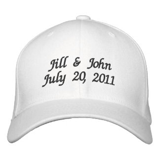 Hochzeits-Datums-Paar nennt Mitteilungs-Weiß-Hut Bestickte Baseballkappe