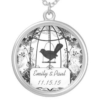 Hochzeits-DatumVintage Birdcage-Jahrestags-Halsket Personalisierte Halskette