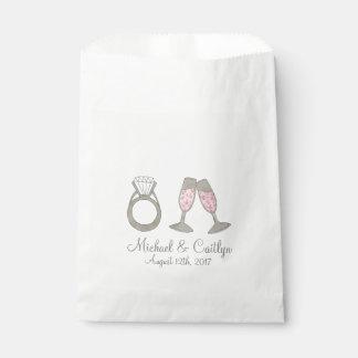 Hochzeits-Diamant-Ring-Rosa-Champagne-Brautparty Geschenktütchen