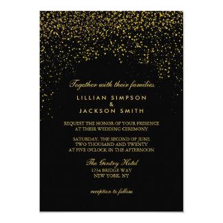 Hochzeits-Einladung - Confetti - Schwarzes Karte