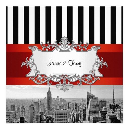 Hochzeits-Einladung F2 NYC Skyline BWs B2