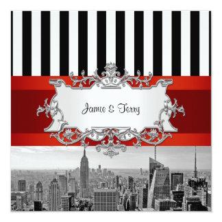 Hochzeits-Einladung F2 NYC Skyline BWs B2 Quadratische 13,3 Cm Einladungskarte