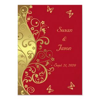 Hochzeits-Einladung--GoldWirbel u. rotes 12x18 Karte