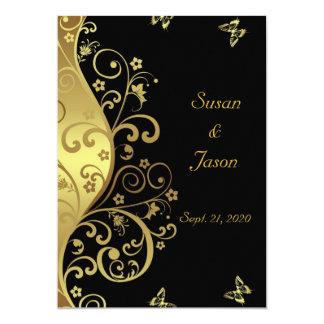 Hochzeits-Einladung--GoldWirbel u. schwarzes 12x18 Karte