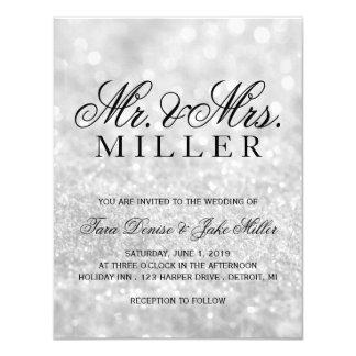 Hochzeits-Einladung - Lit silbernes Glit toll 10,8 X 14 Cm Einladungskarte