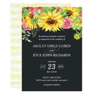 Hochzeits-Einladung mit kaskadierensonnenblumen Karte