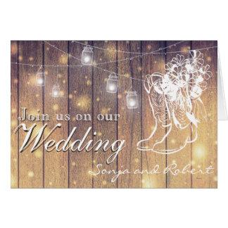 Hochzeits-Einladung - Weckgläser und Cowboystiefel Karte