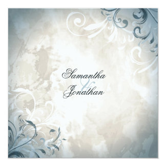 Hochzeits-Einladungs-elegantes Vintages Laub u. Quadratische 13,3 Cm Einladungskarte