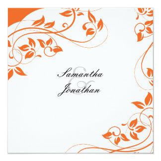 Hochzeits-Einladungs-Leuchtorange-u. weißesblumen Quadratische 13,3 Cm Einladungskarte