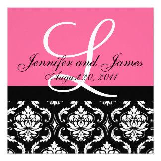 Hochzeits-Einladungs-Monogramm nennt Datum rosa Individuelle Einladungen