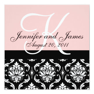 Hochzeits-Einladungs-Monogramm nennt Datum rosa Quadratische 13,3 Cm Einladungskarte