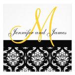 Hochzeits-Einladungs-Monogramm nennt gelben Damast Personalisierte Einladungskarte