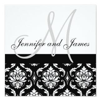 Hochzeits-Einladungs-Monogramm nennt grauen Damast Quadratische 13,3 Cm Einladungskarte