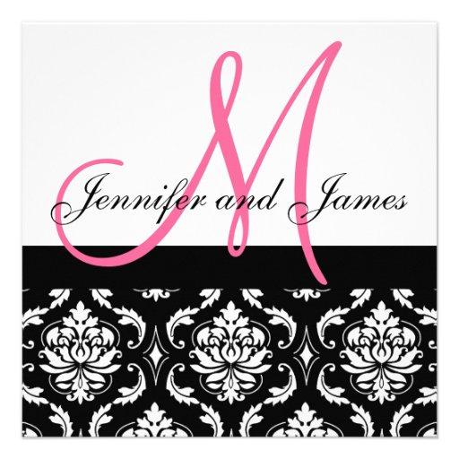 Hochzeits-Einladungs-Monogramm nennt Pink-Damast