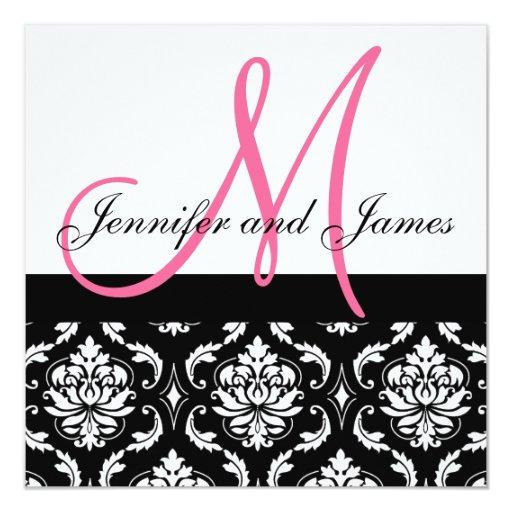 Hochzeits-Einladungs-Monogramm nennt Pink-Damast Ankündigungen