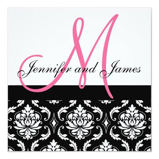 Hochzeits-Einladungs-Monogramm nennt Pink-Damast Karte