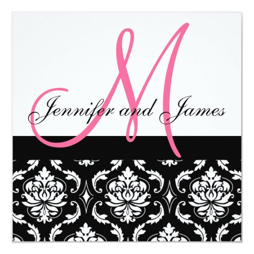 Hochzeits-Einladungs-Monogramm nennt Pink-Damast Quadratische 13,3 Cm Einladungskarte