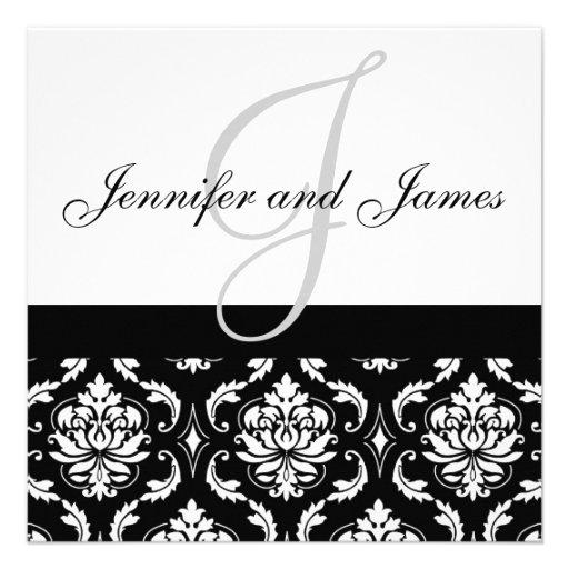 Hochzeits-Einladungs-Monogramm nennt schwarzen Einladungen